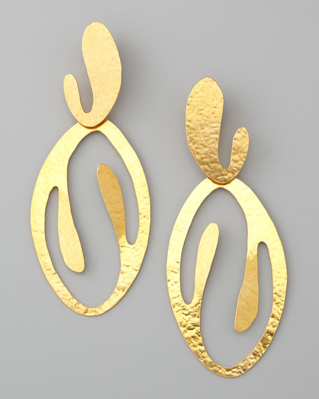Coral Cutout Drop Clip Earrings