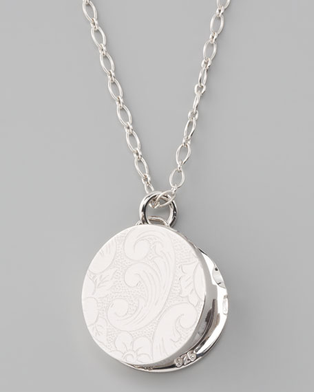 Round Floral-Carved Locket Necklace