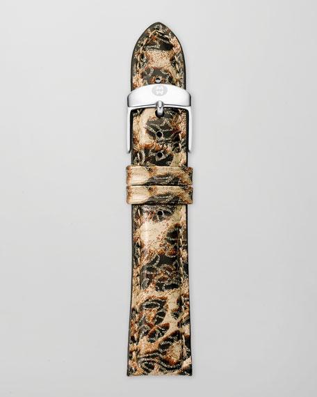 20mm Cheetah-Print Leather Watch Strap, Brown