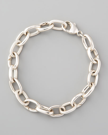 Textured Silver Link Bracelet