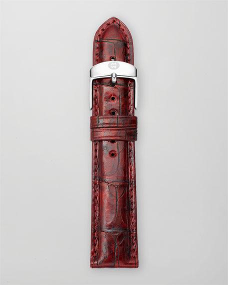20mm Alligator Watch Strap, Garnet