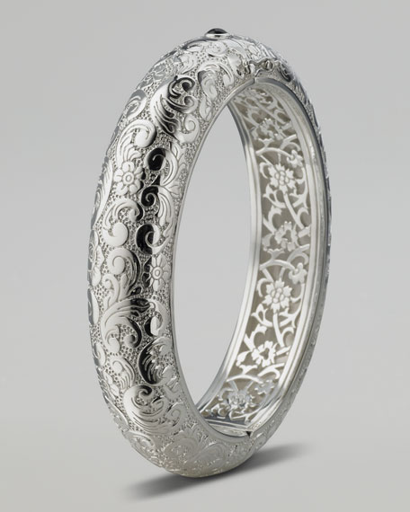 Floral-Carved Cuff, Thin