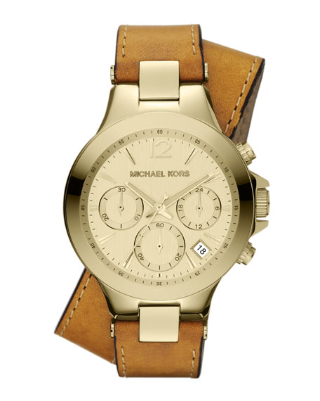 Mid-Size Luggage Leather and Golden Stainless Steel Peyton Chronograph Watch