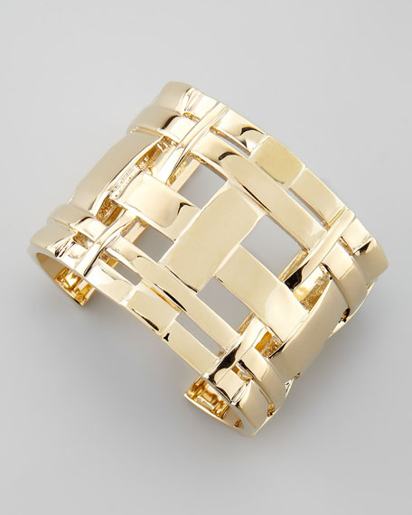Gold-Plated Gingham Cuff
