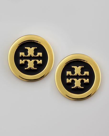 Enamel-Fill Logo Earrings, Black