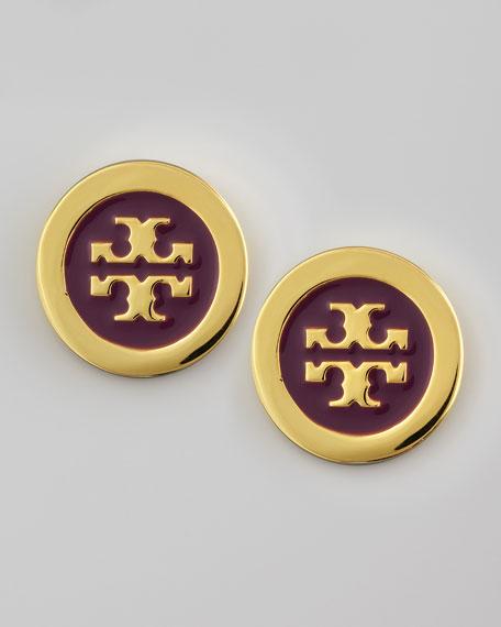 Enamel-Fill Logo Earrings, Fuchsia