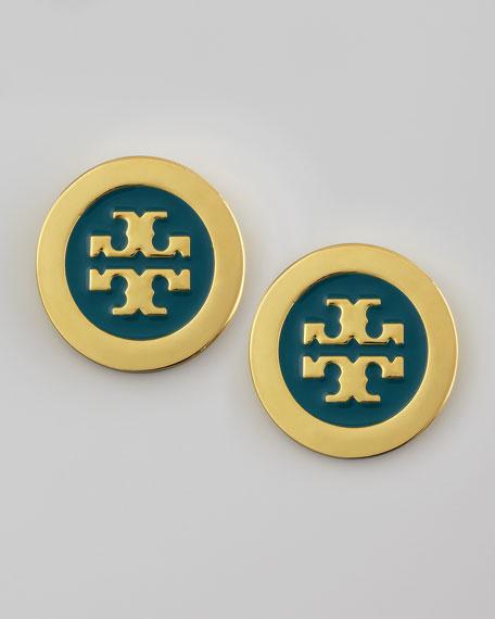 Enamel-Fill Logo Earrings, Blue