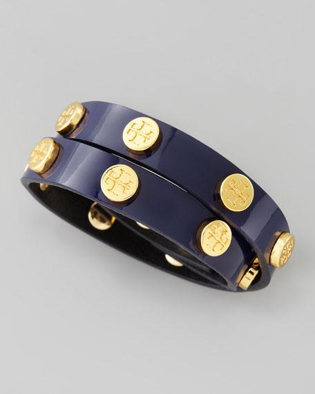 Logo-Studded Patent Wrap Bracelet, Blue