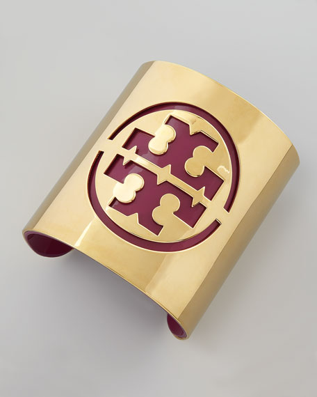Leather Stencil Logo Cuff, Fuchsia