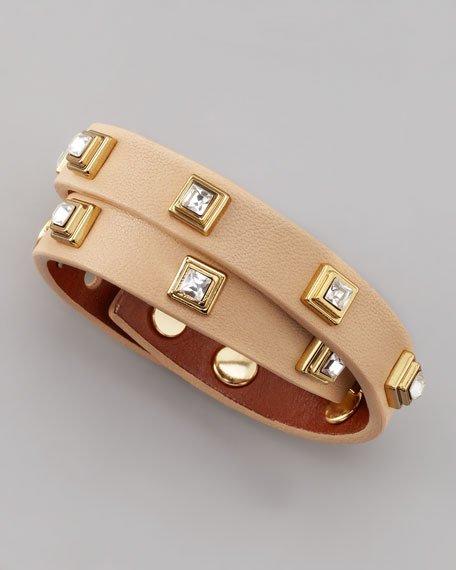 Crystal-Studded Leather Bracelet, Beige