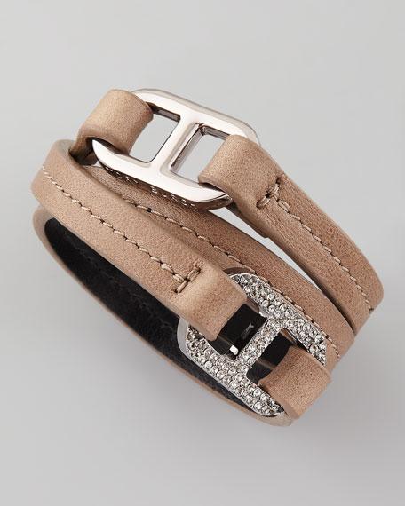 Pave Plato Link Bracelet, Taupe