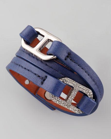 Pave Plato Link Patent Bracelet, Blue