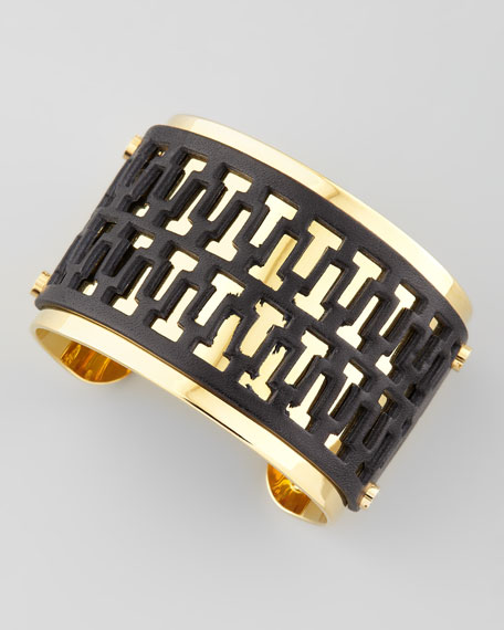 T-Perforated Leather Cuff, Black