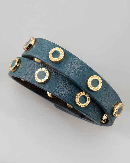 Cole Logo-Studded Leather Wrap Bracelet, Teal