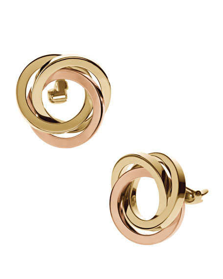 Knot Clip Earrings, Golden/Rose Golden