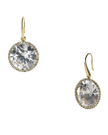 Crystal Drop Earrings, Golden