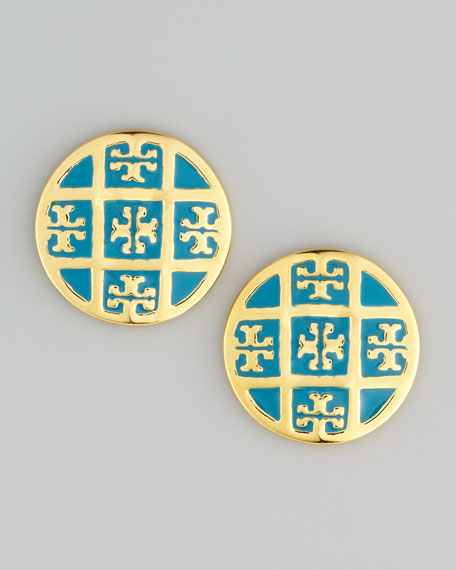 Enamel T-Logo Stud Earrings, Blue