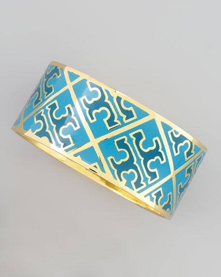Enamel T-Pattern Bangle, Blue