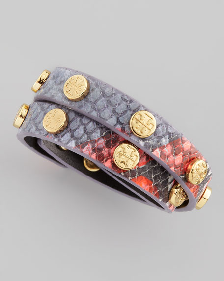 Logo-Studded Snake-Embossed Wrap Bracelet, Blue