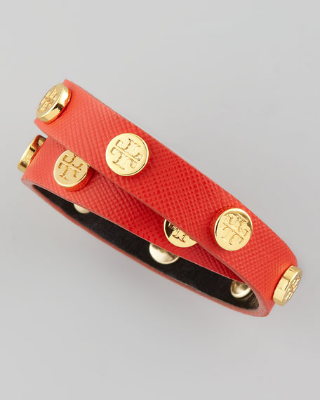 Logo-Studded Saffiano Wrap Bracelet, Red