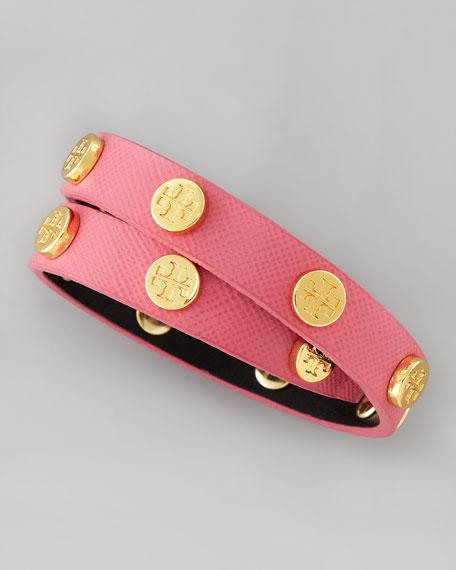 Logo-Studded Saffiano Wrap Bracelet, Rose