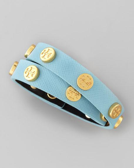 Logo-Studded Saffiano Wrap Bracelet, Blue