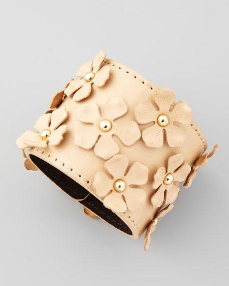 Flower-Embellished Bracelet, Brown