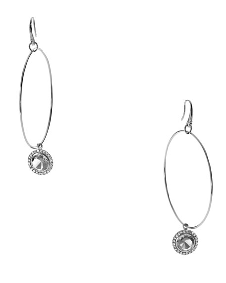 Hoop With Drop Earrings, Silver Color