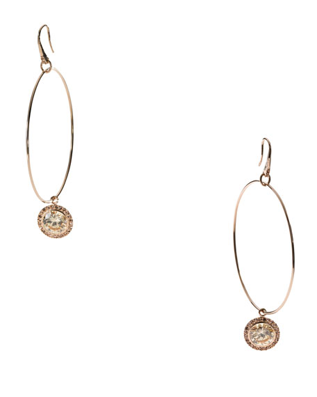 Hoop With Drop Earrings, Rose Golden