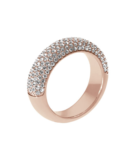 Pave Dome Ring, Rose Golden