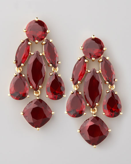 statement earrings, ruby
