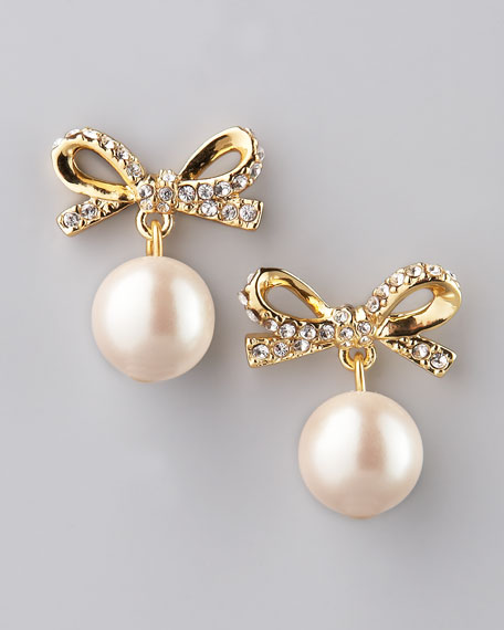 skinny mini faux-pearl drop earrings