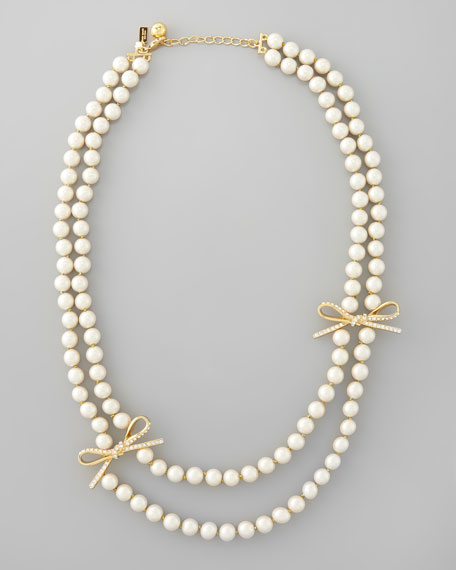 Kate Spade Pearl Bow Necklace: Kate Spade New York Double-strand Faux-pearl Necklace