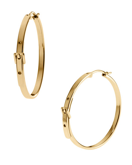 Buckle Hoop Earrings, Golden