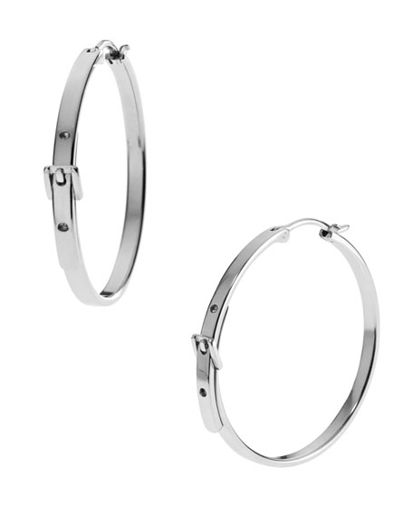 Medium Buckle Hoop Earrings, Silver Color