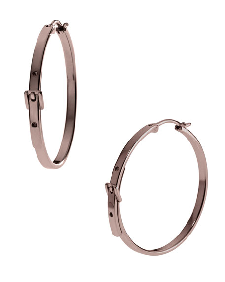 Medium Buckle Hoop Earrings, Espresso