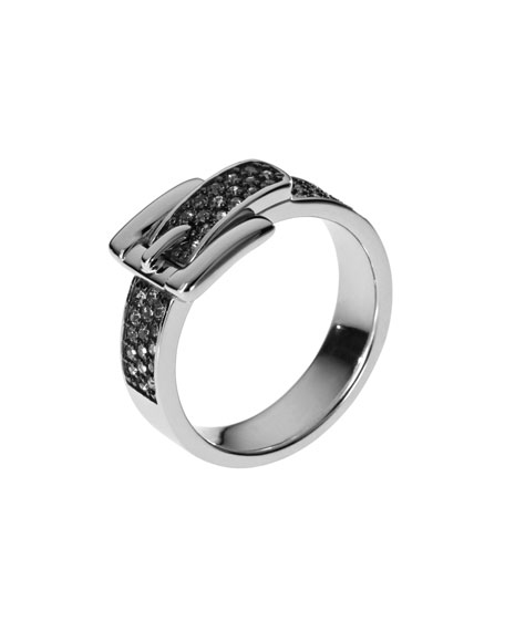Pave Buckle Ring, Silver Color