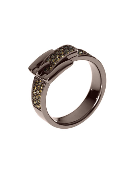 Pave Buckle Ring, Espresso