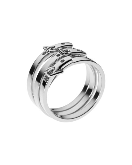 Skinny-Buckle Ring, Silver Color