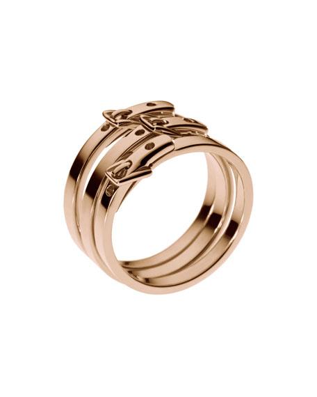 Skinny-Buckle Ring, Rose Golden