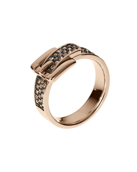 Pave Buckle Ring, Rose Golden
