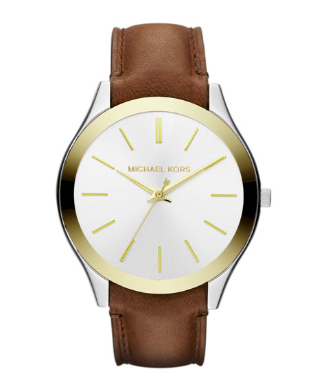 Mid-Size Chocolate Leather and Golden and Silver Color Stainless Steel Slim Runway Three-Hand Watch