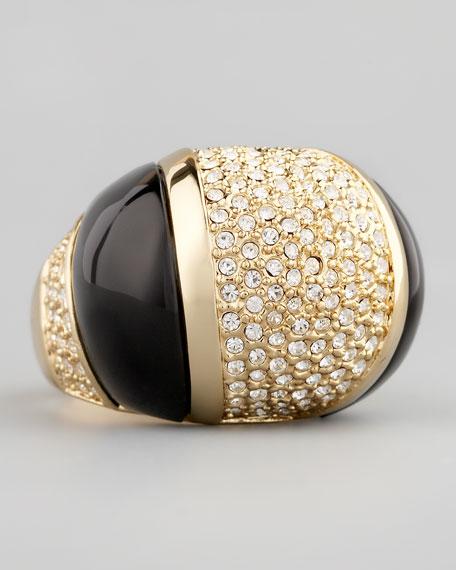 Domed Crystal Ring, Black