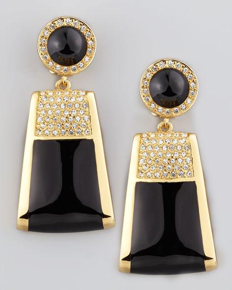 Rectangle Drop Clip Earrings