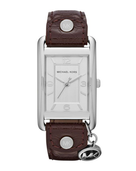 Mid-Size Chocolate Leather and  Silver Color Stainless Steel Three-Hand Watch