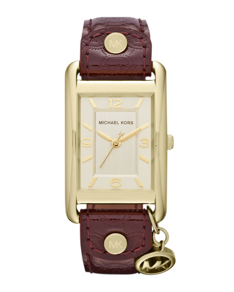 Mid-Size Bordeaux Patent Leather and Golden Stainless Steel Three-Hand Watch