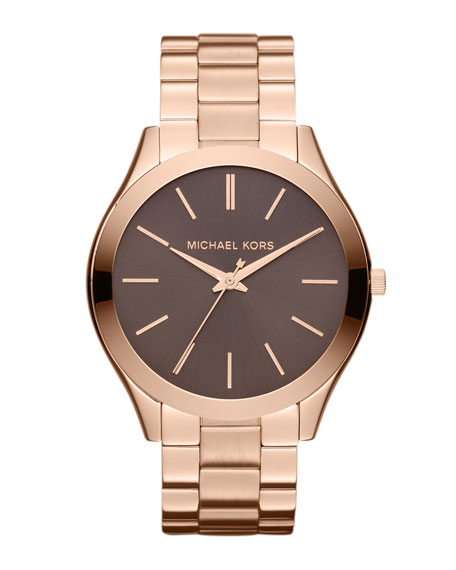 Mid-Size Rose Golden Stainless Steel Slim Runway Three-Hand Watch