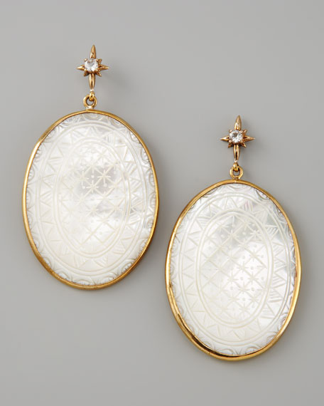 Etched Mother-of-Pearl Drop Earrings