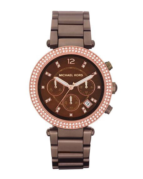 Mid-Size Espresso Stainless Steel Parker Chronograph Glitz Watch