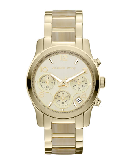 Mid-Size Horn Acetate and Golden Stainless Steel Runway Chronograph Watch